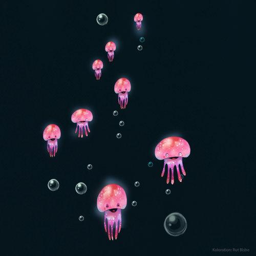 果冻鱼的色彩丰富的插画