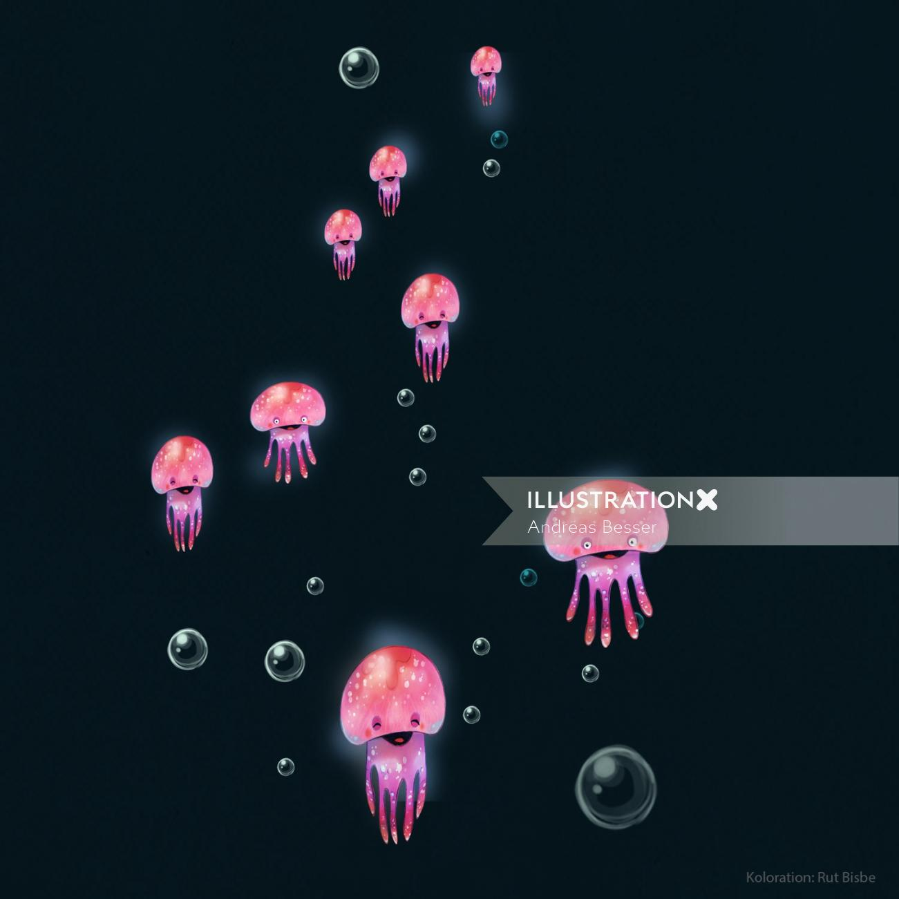 Colorful illustration of jelly fish