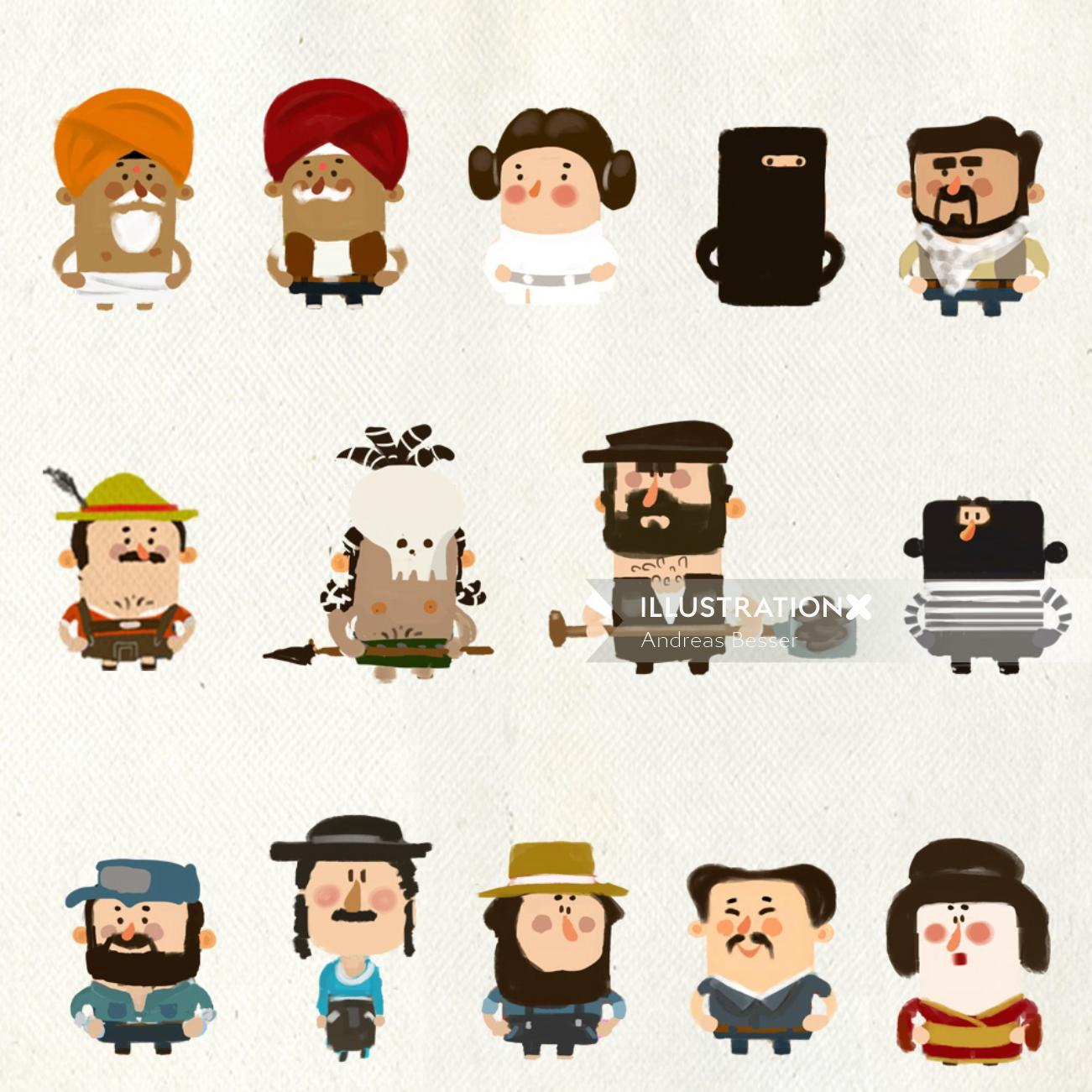 Cartoon characters of people