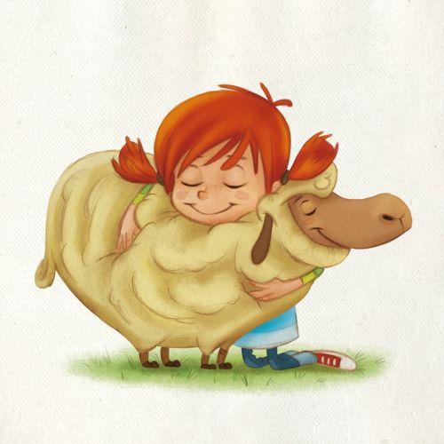 children cartoon of girl with sheep