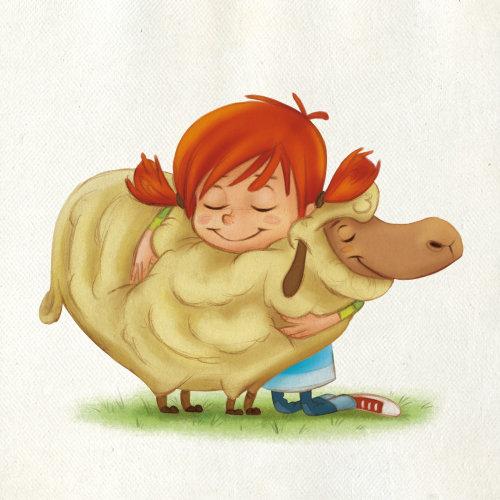 儿童卡通的羊的女孩
