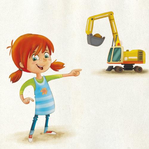 一个女孩用机器的卡通插图