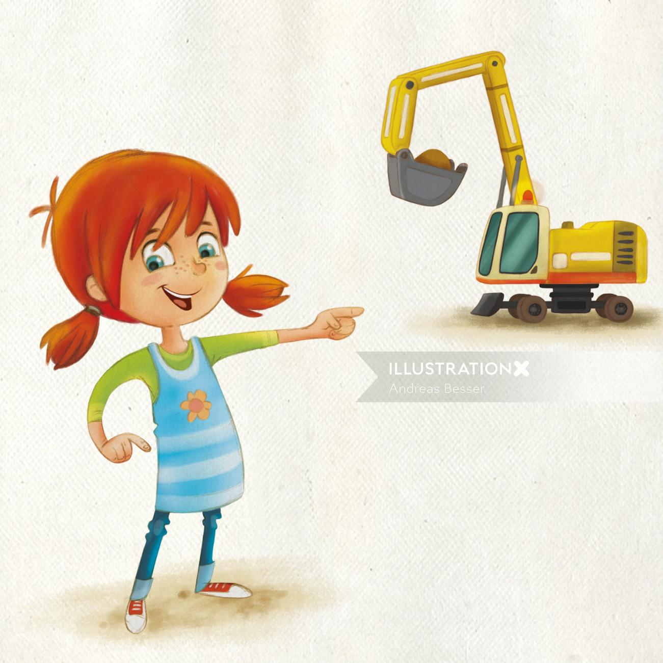 cartoon illustration of a girl with machine