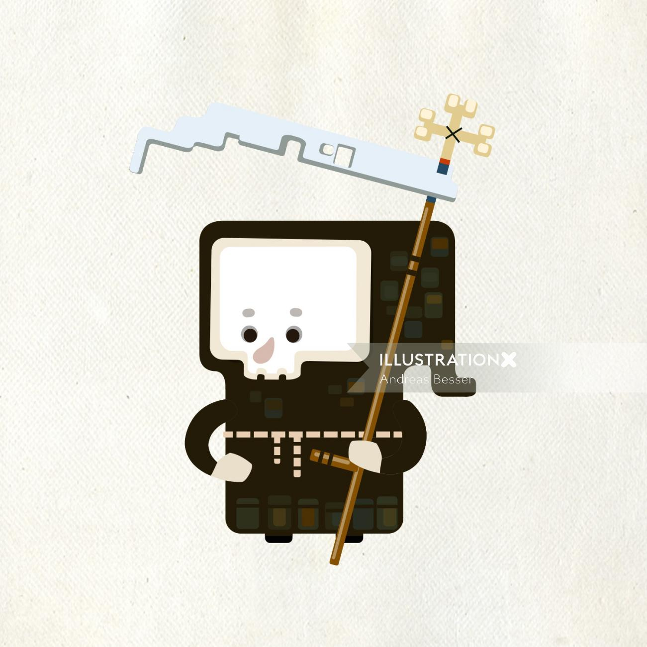 cartoon character design of a man with tool