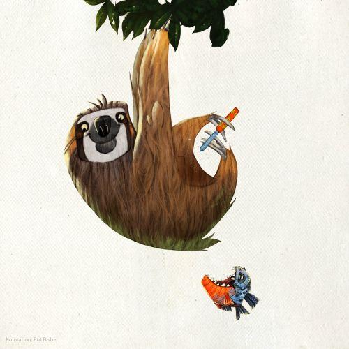 Animal hanging on tree illustration