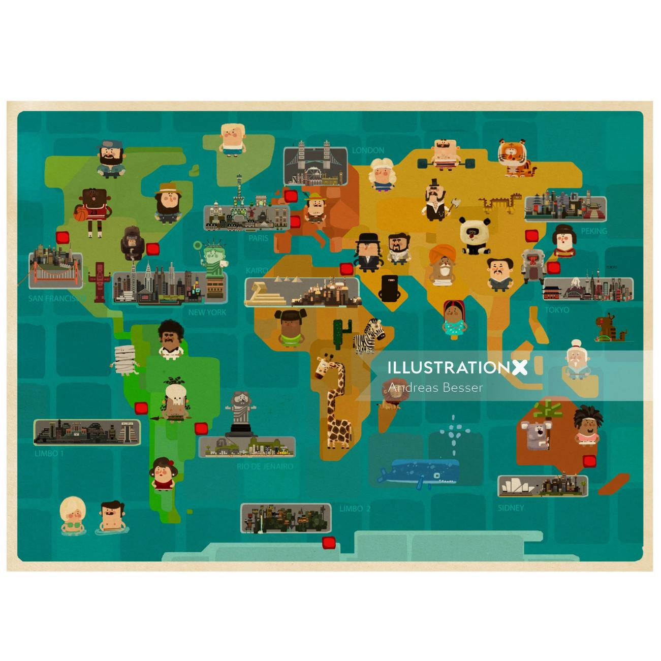Illustration of world map with people and animals