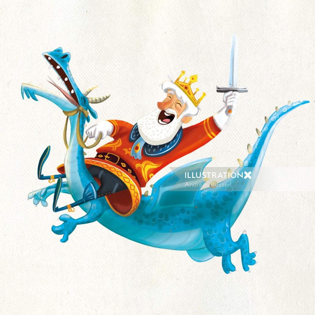Character design of king riding dragon