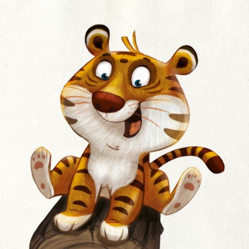 character design of a happy tiger