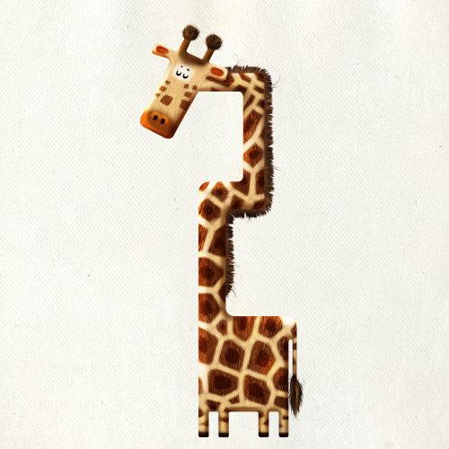 Illustration of giraffe in alphabet shape