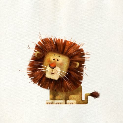 Funny and sleepy lion animation