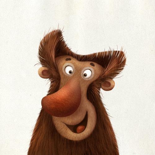 笑脸猴子的卡通插图