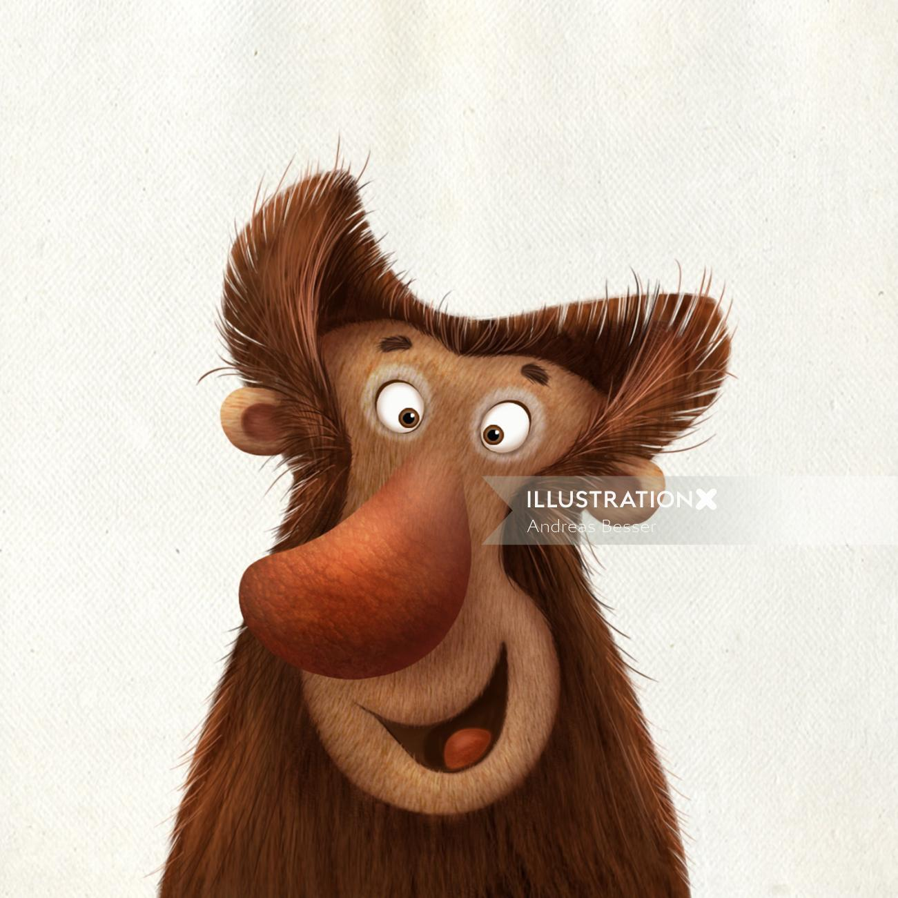 Cartoon illustration of smiley monkey