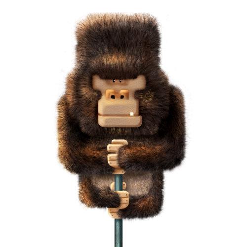 Digital illustration of a chimpangee on pole