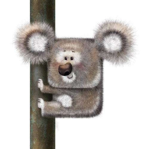 杆上的动物的插图