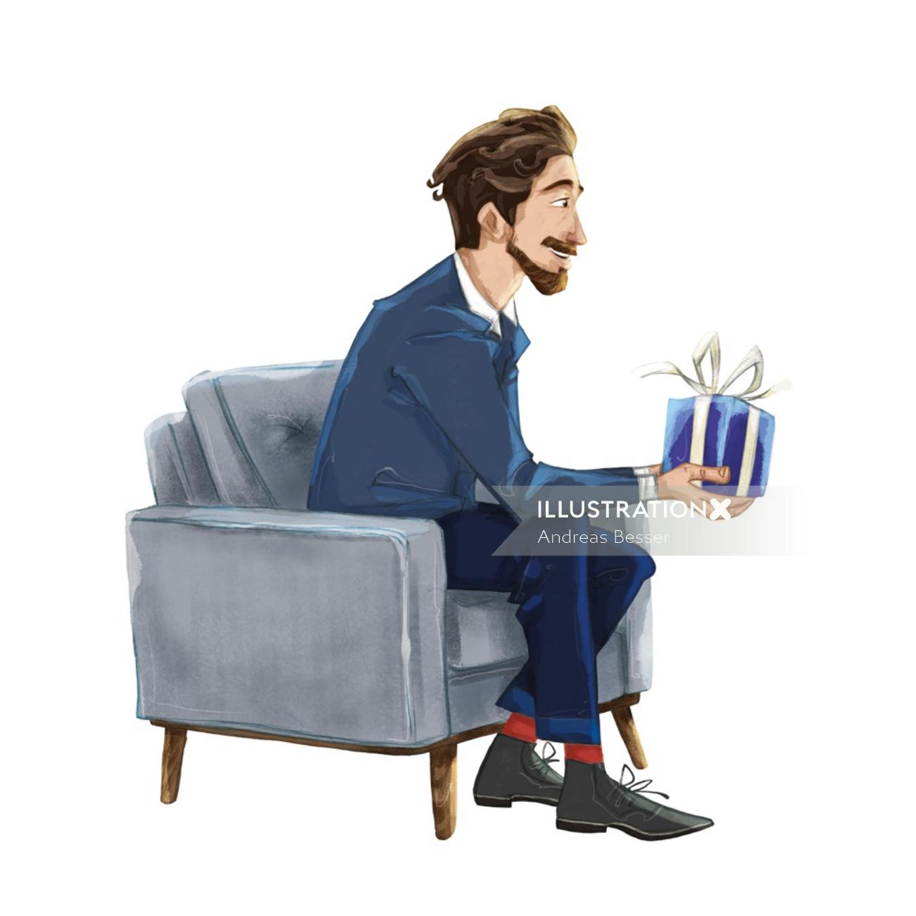 Cartoon illustration of young man holding gift box