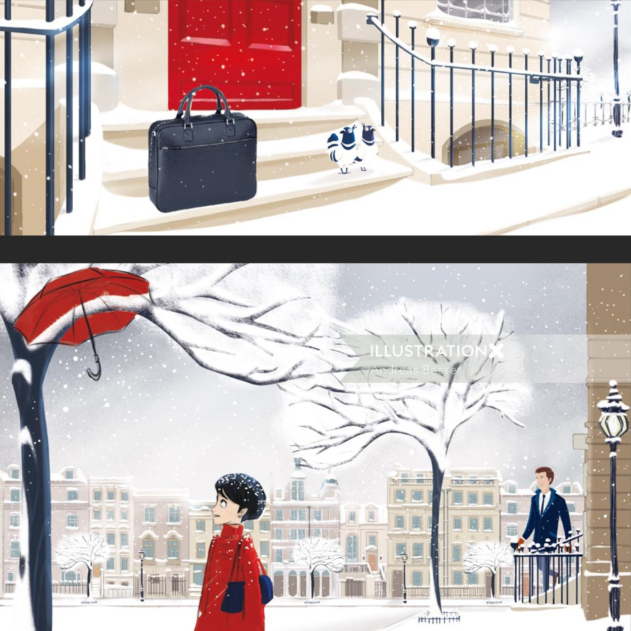 character illustration of people in snow