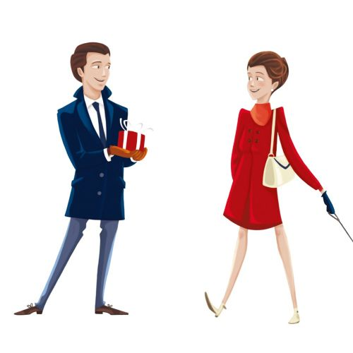 Cartoon illustration of young man giving gift box to woman
