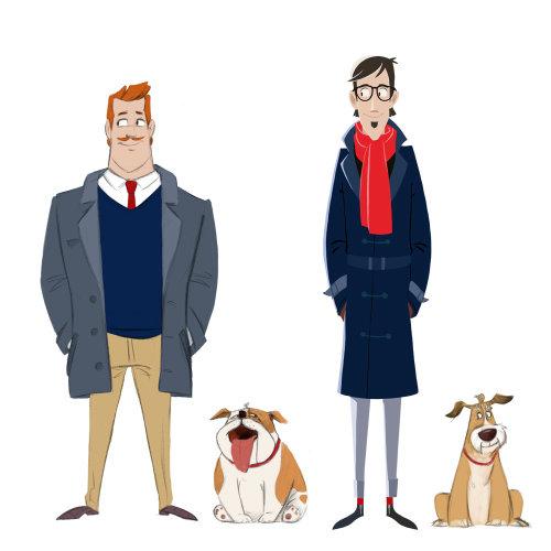 人站立与狗的角色设计