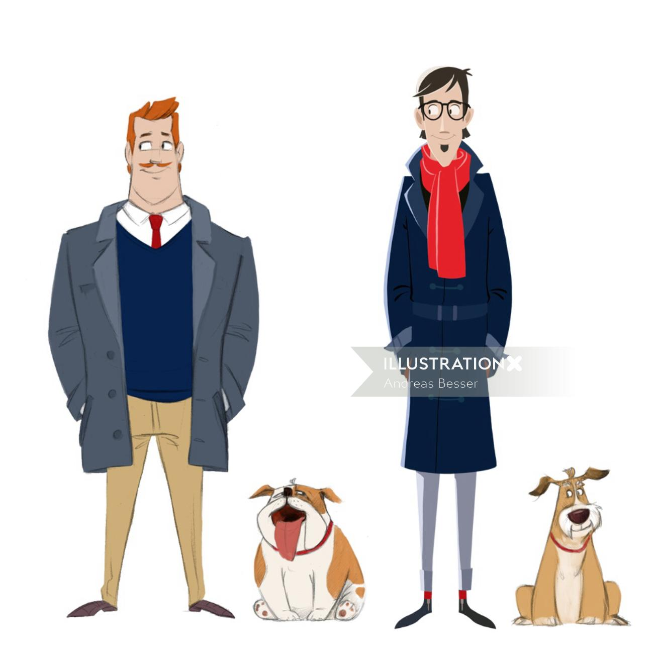 Character design of people standing with dogs