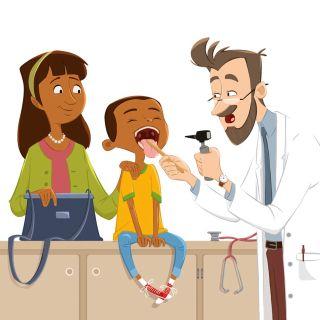 Cartoon of a dentist examining child
