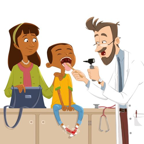 Cartoon of a dentist examining child