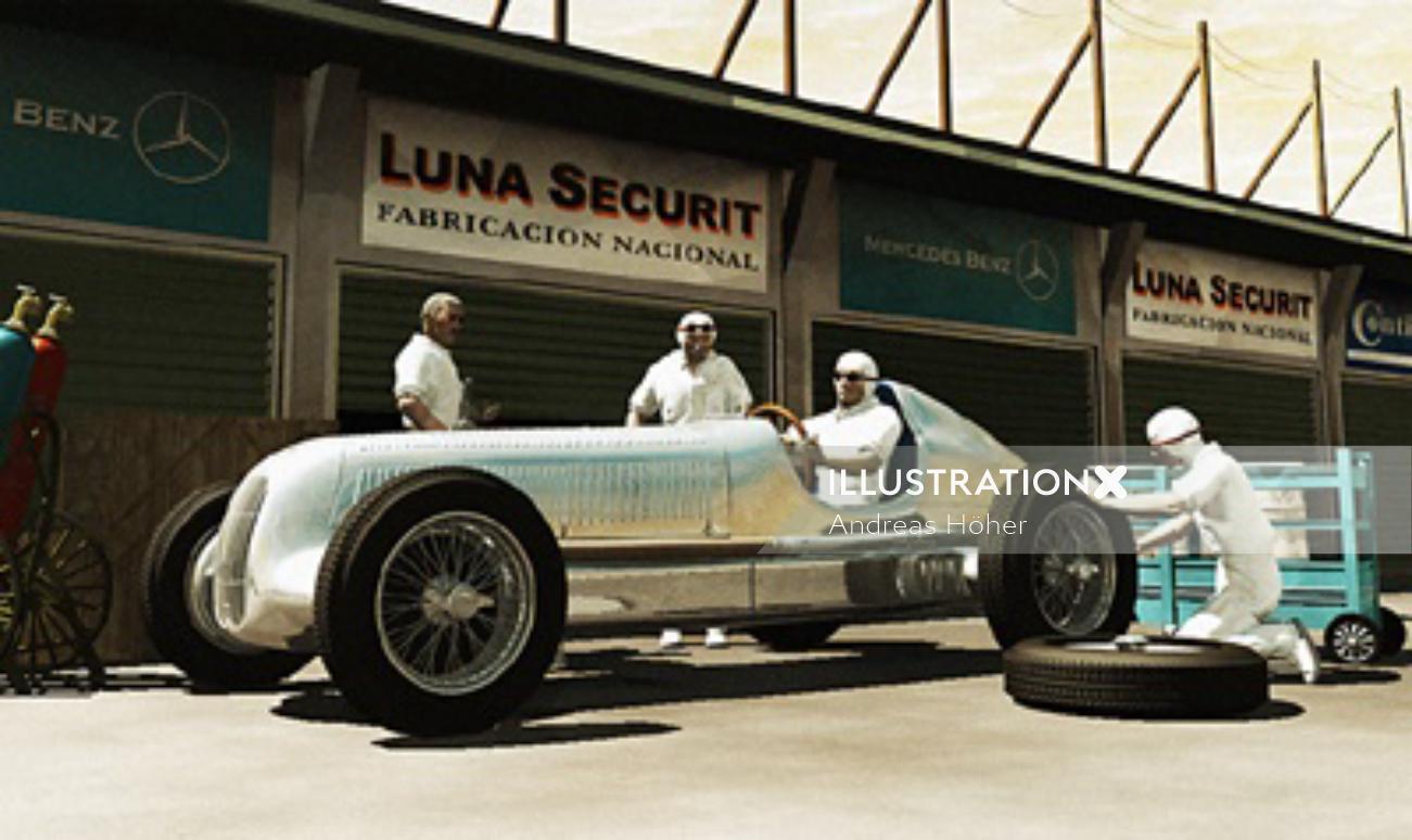 Retro art of Mercedes racer