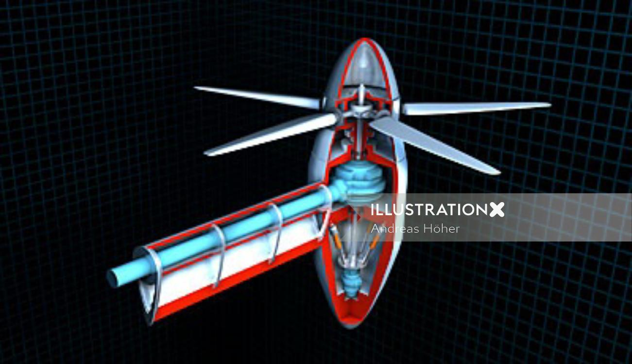 Technical illustration of rotor