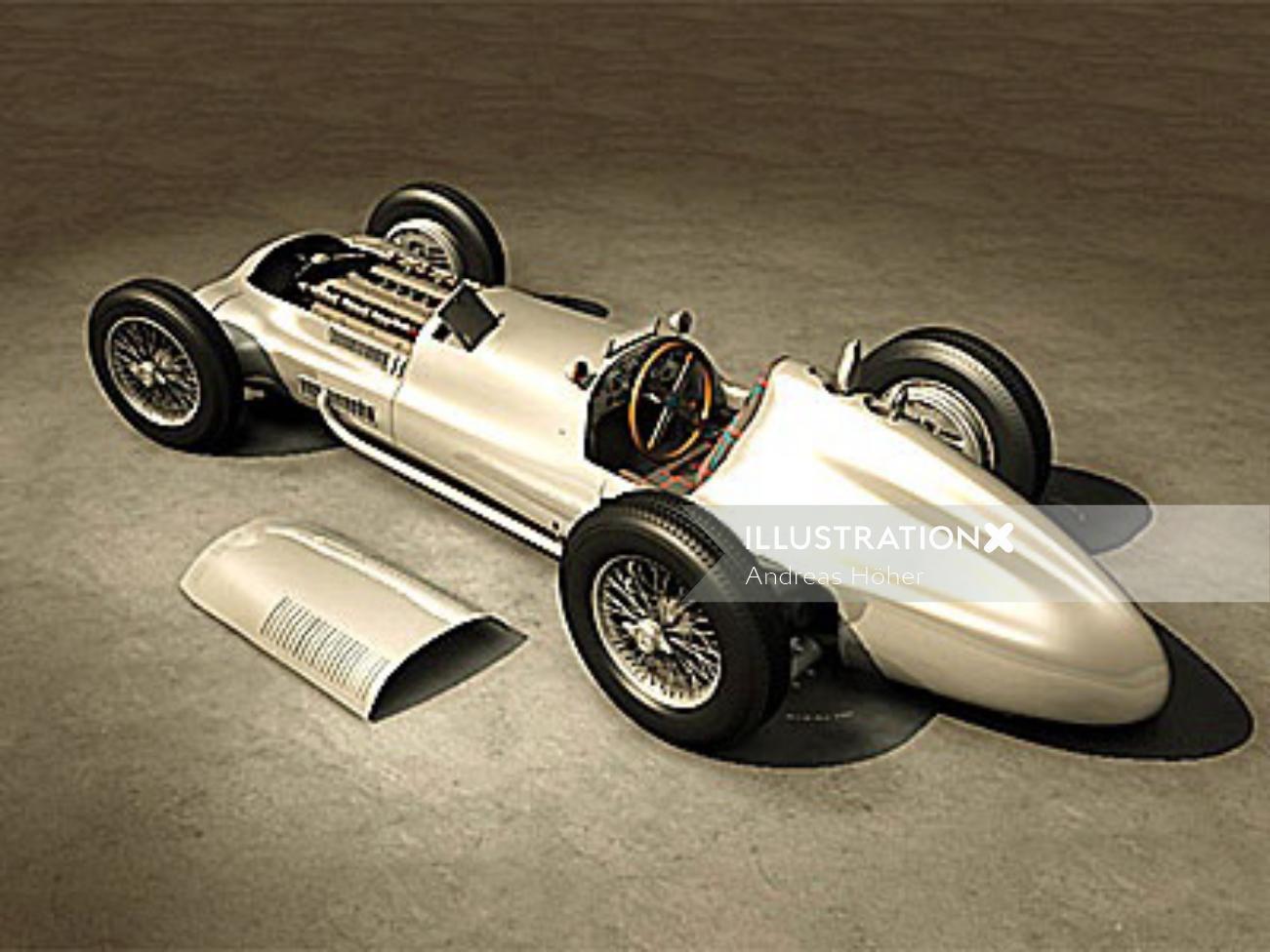 Retro art of Mercedes car