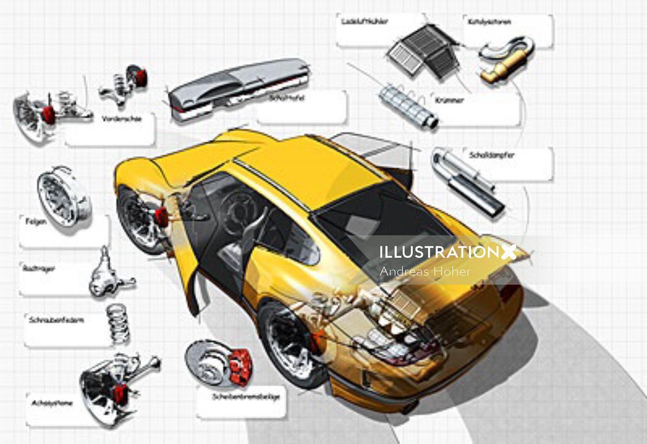 Sketch art of yellow Porsche