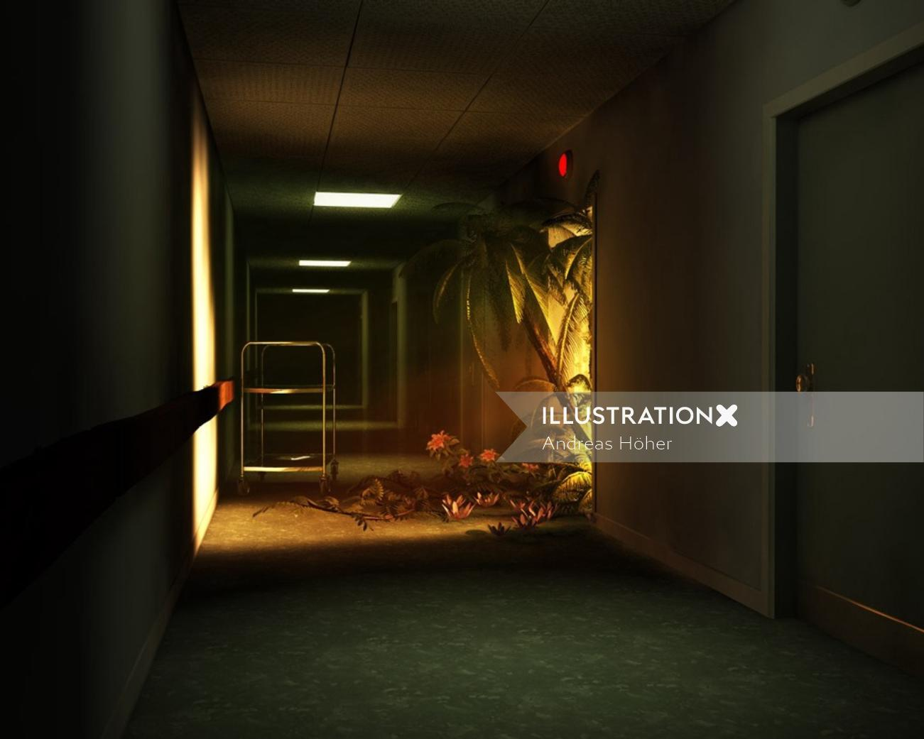 3d illustration of wild corridor