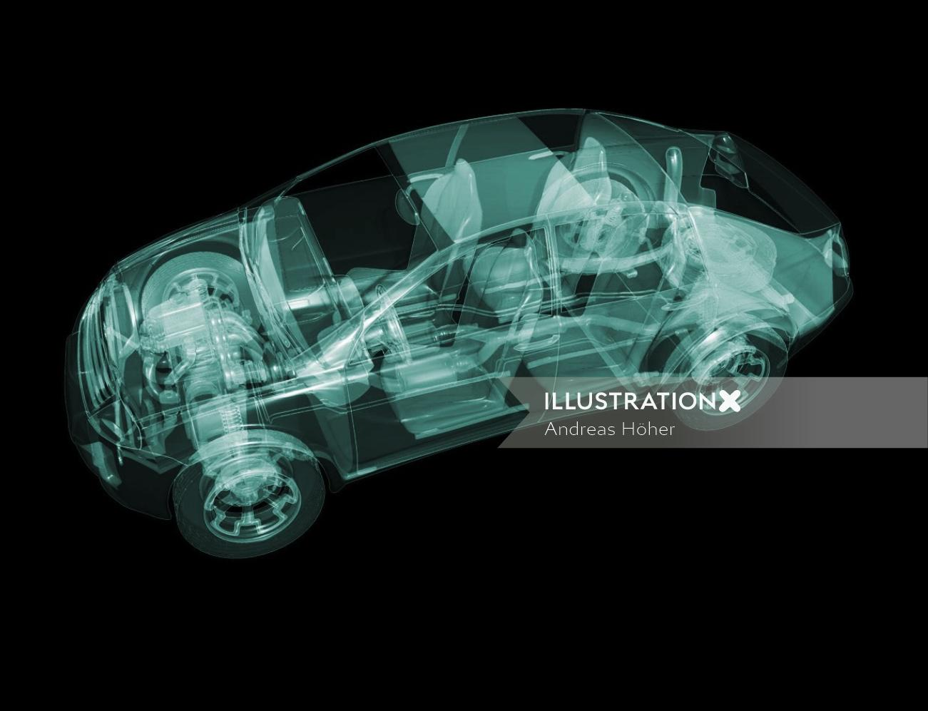 x-ray car 3d illustration