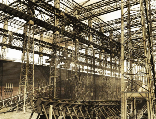 Digital painting of harland Wolff shipyard 1911