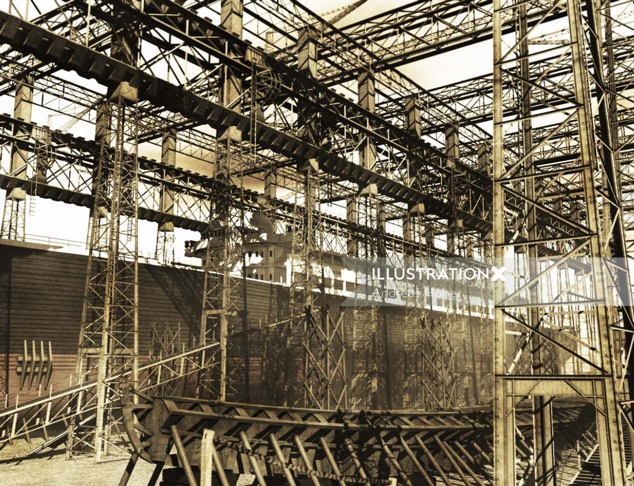 Digital painting of harland Wolff shipyard 1911