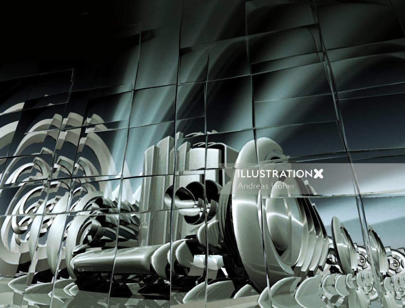 3d illustration of cubic race car