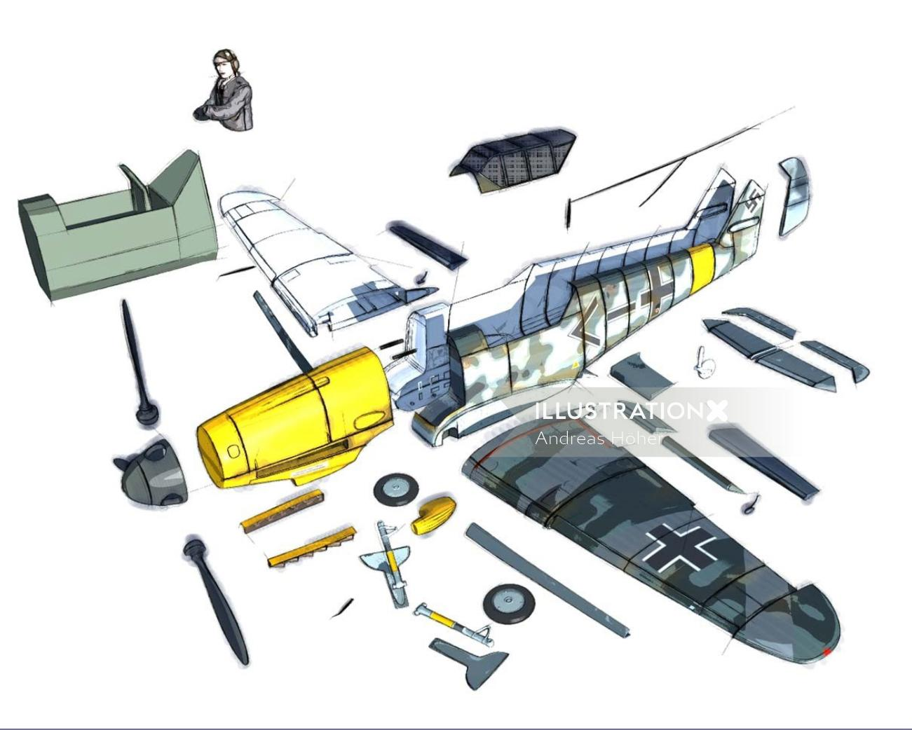 Graphic design of Airplane explanation for Messerschmidt company