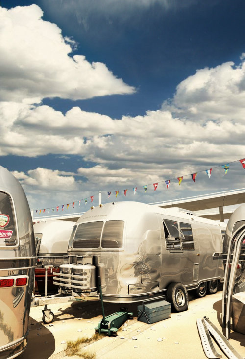 3D illustration of air stream trailer park