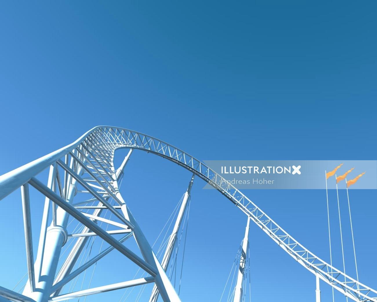 Realistic illustration of 1970 roller coaster