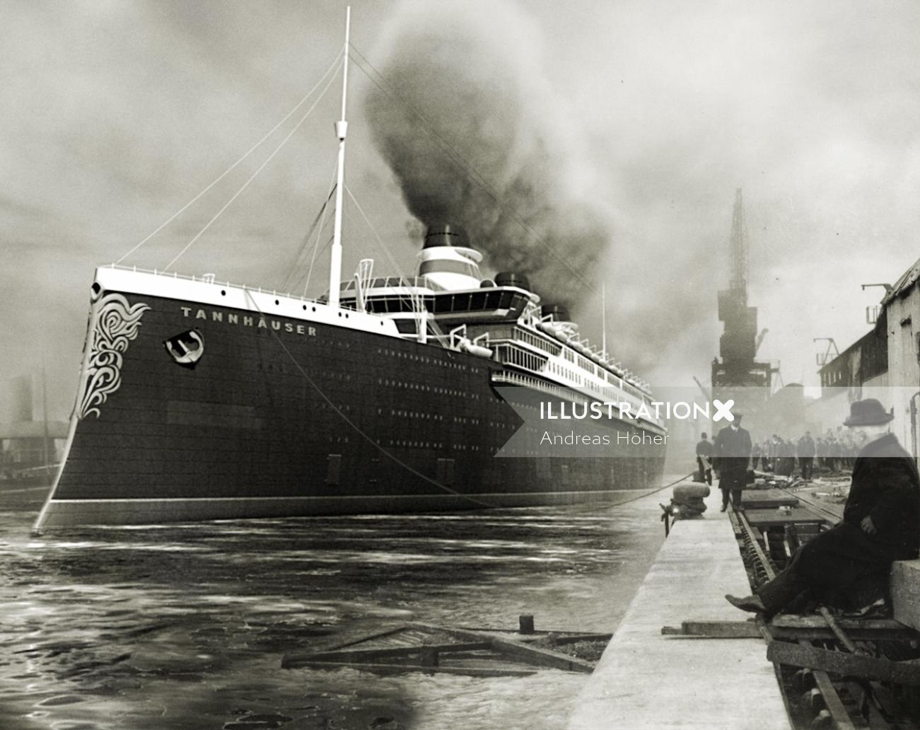 Black and white art of fictive German steam vessel