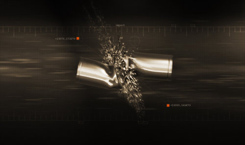 Graphic design of bullets colliding