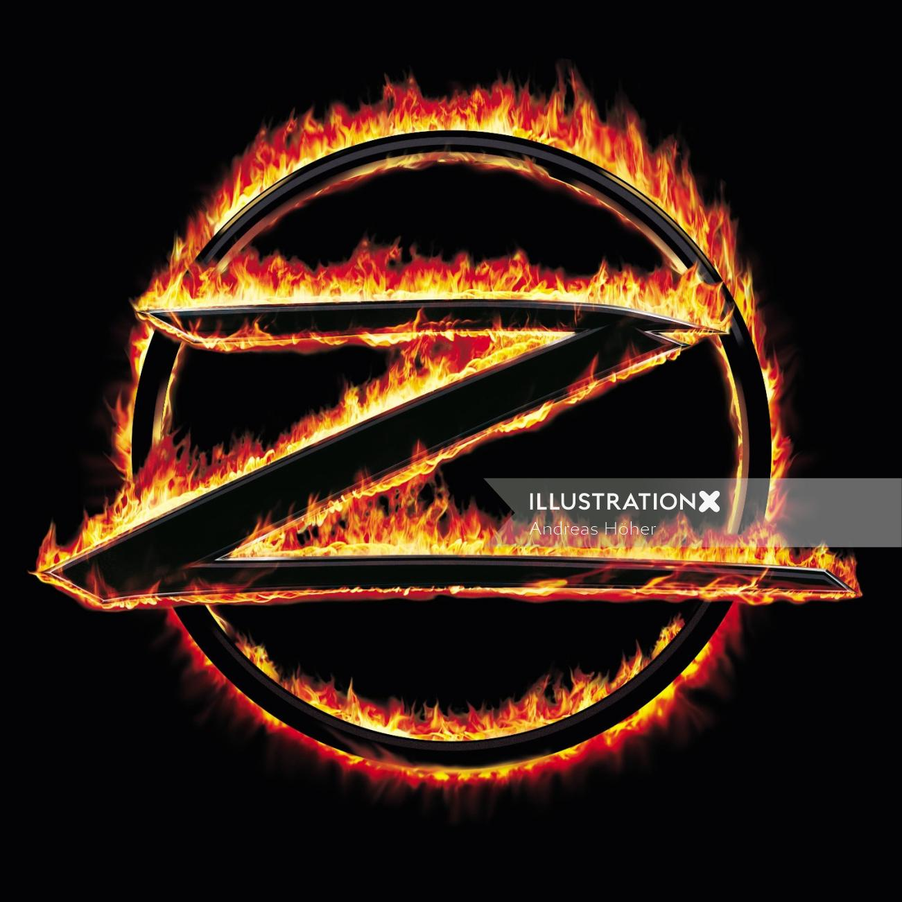 Graphic design of flaming opel-logo conversion