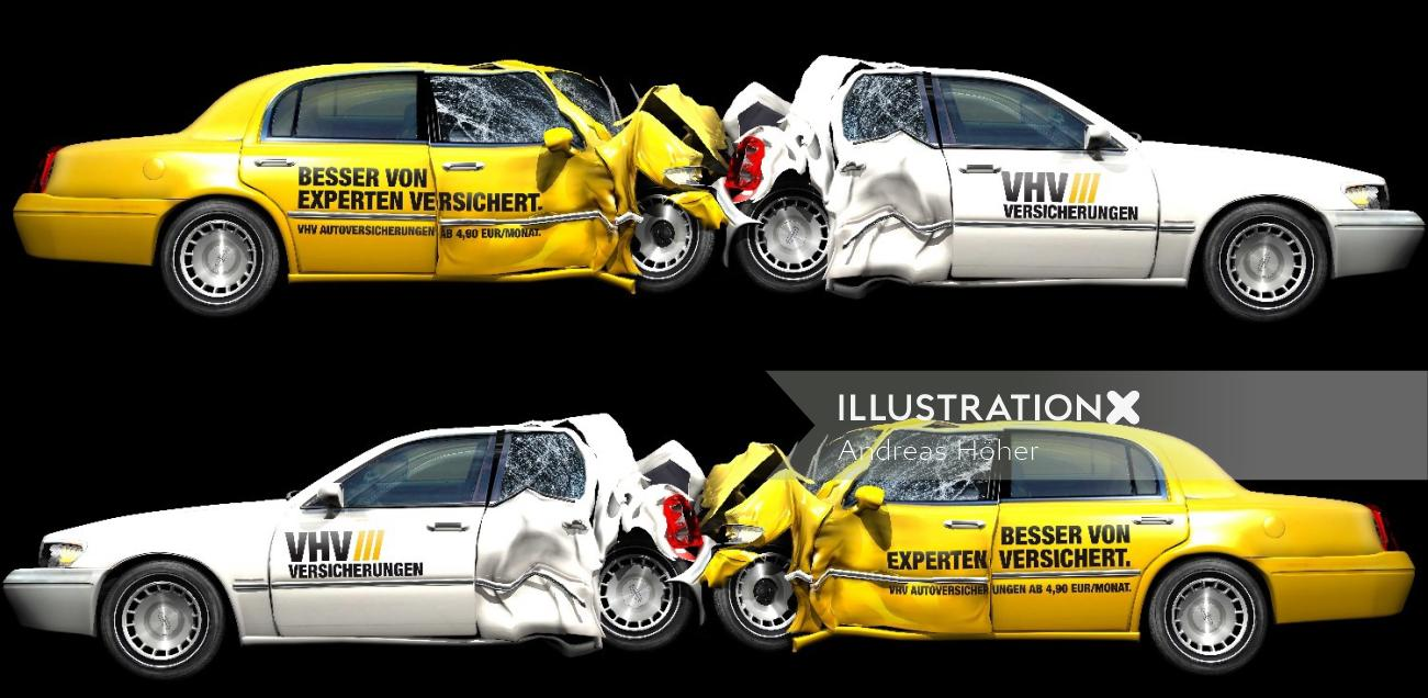 Crashed limousines illustration