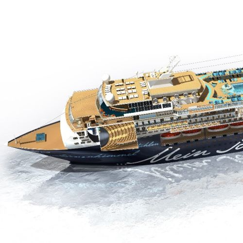 3d design of cross-sectioned cruise ship