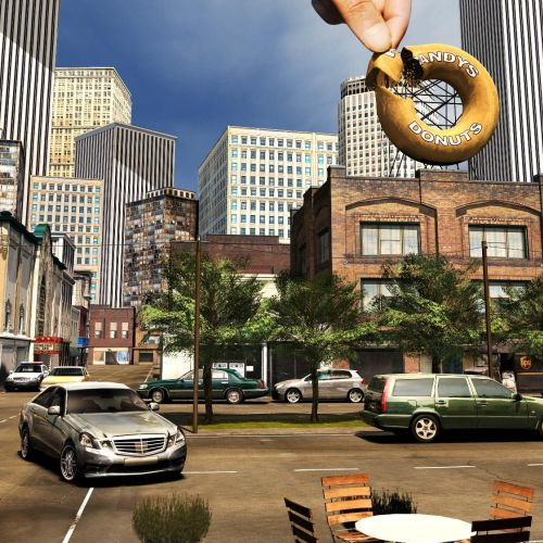 3d illustration of donut city