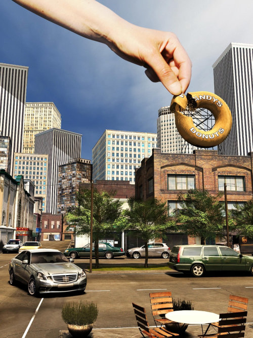 3d illustration of donut city