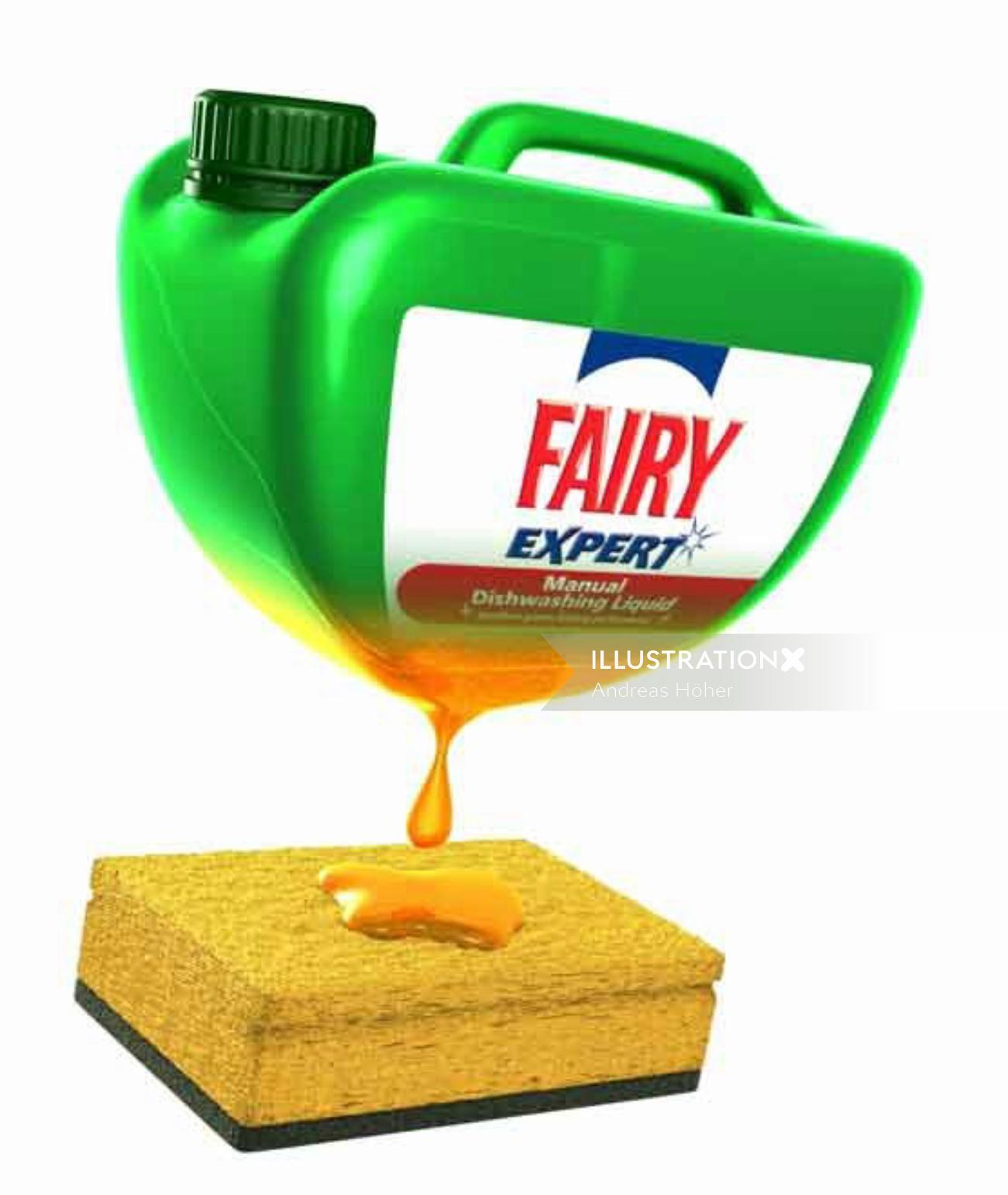 Graphic design of fairy detergent
