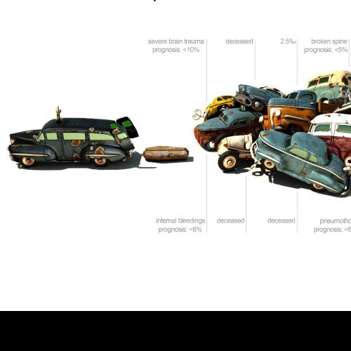 a heap of damaged cars in a 3d model