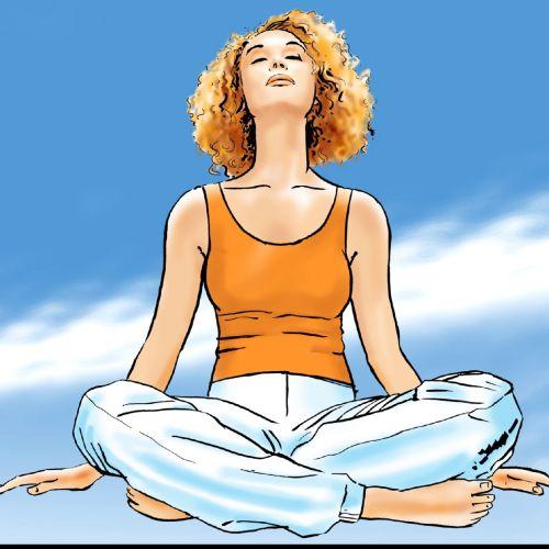 Beautiful girl relaxing meditation