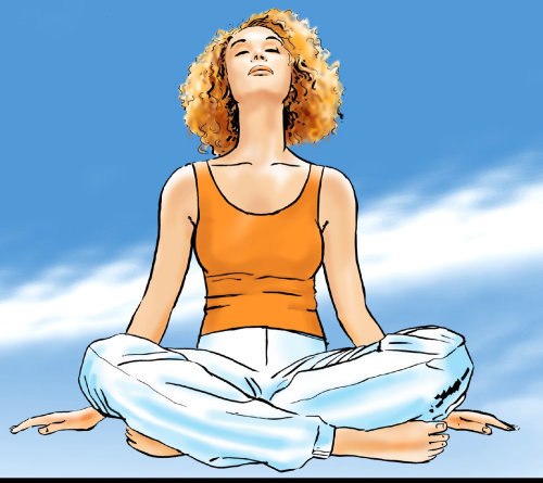Hermosa chica relajante meditación