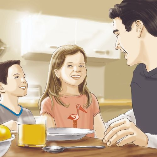 Father children at dinning table