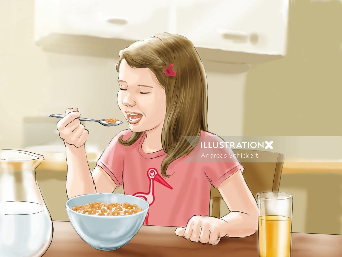 Beautiful girl having breakfast